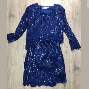 Vtg Swee Lo Blue Beaded Party Cocktail  Dress Gown
